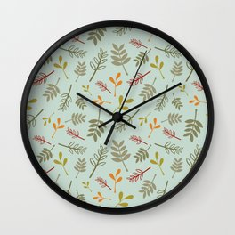 Floral Foliage Pattern in Autumn Colors Wall Clock