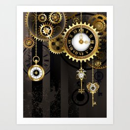 Antique Clock with Keys ( Steampunk ) Art Print