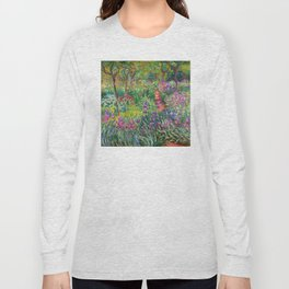 Claude Monet - The Iris Garden At Giverny Long Sleeve T-shirt
