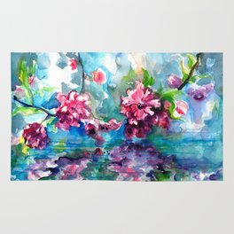 CHERRY TREE MIRRORING IN THE WATER - WATERCOLOR Rug
