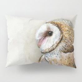 Barn Owl Watercolor, Birds Of Prey Wild Animals Owls Pillow Sham
