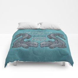 Dive Deep - Silver Dolphins Comforters