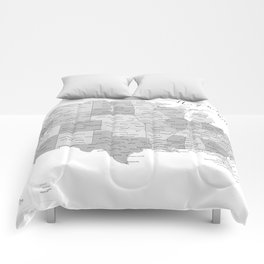 Anywhere with you, USA map in grayscale Comforters