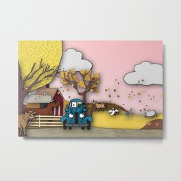 Blue truck and friends Metal Print