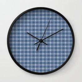 Denim Blue Plaid  Wall Clock