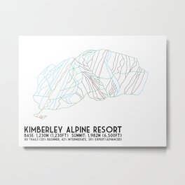 Kimberley Alpine Resort - BC, Canada - Minimalist Winter Trail Art Metal Print
