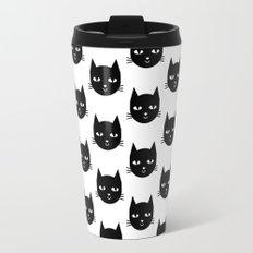 Cat Head - Black and White, Minimal, Monochrome, Animal, Kitty Simple Design Travel Mug