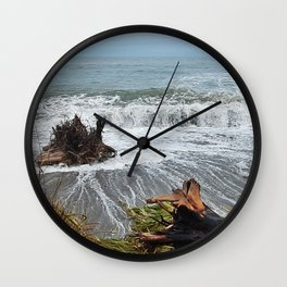 Sea Climbs into the Grass Wall Clock