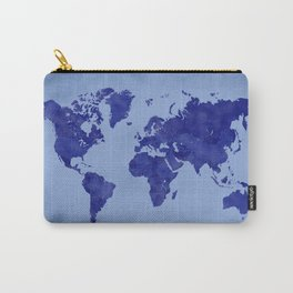 Vintage and distressed blue world map Carry-All Pouch