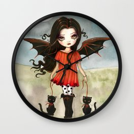 Child of Halloween Cute Gothic Vampire Child and Black Cats Illustration Wall Clock
