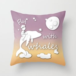 boy flying with whale Throw Pillow