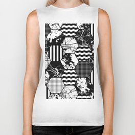 Hexual - Black and white, honeycomb, hexagon pattern, stripes, paint splats, grid and marble Biker Tank