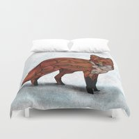 snow Duvet Covers featuring Red Fox by Ben Geiger