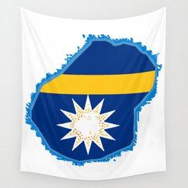 Nauru Map with Nauruan Flag Wall Tapestry
