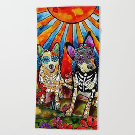 Australian Cattle Dog Sugar Skull Painting Beach Towel