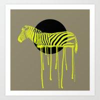zebra Art Prints featuring Zebra by ministryofpixel