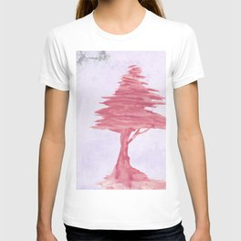 Red Tree watercolor on old paper T-shirt
