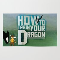 how to train your dragon Area & Throw Rugs featuring HOW TO TRAIN YOUR DRAGON - Fantasy | Animation | Movie | Fantastic | Childer | Sci-fi by Gianluca Lucchese