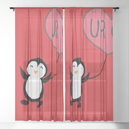 UR OK Penguin in love Sheer Curtain