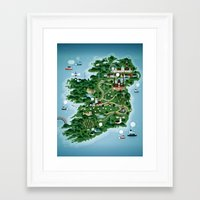 ireland Framed Art Prints featuring Ireland by Steebz