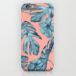 Island Life Teal on Coral Pink iPhone Case