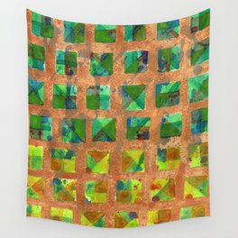 Green Squares on Golden Background Pattern Wall Tapestry