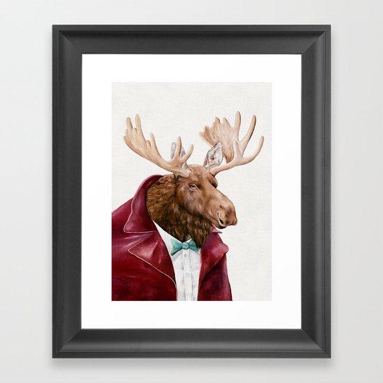 Moose in Maroon Framed Art Print
