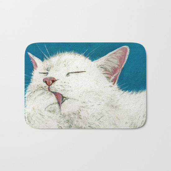 White Cat Grooming Bath Mat