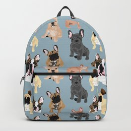 Frenchies on Blue Backpack