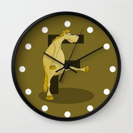 Pony Monogram Letter F Wall Clock