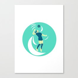 Volleyball Player Spiking High Circle Retro Canvas Print