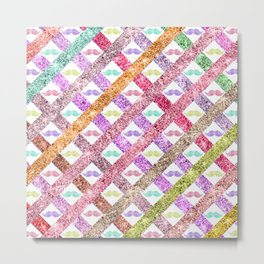 Girly Colorful Glitter Mustaches Stripes Pattern Metal Print