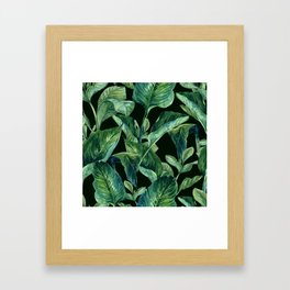 Blue Green Watercolor Tropical Leaves Framed Art Print