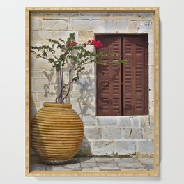 Ceramic jar with bougainvillea flowers and wooden window Serving Tray