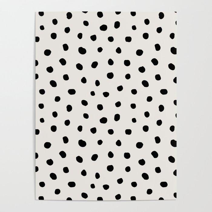 Modern Polka Dots Black on Light Gray Poster