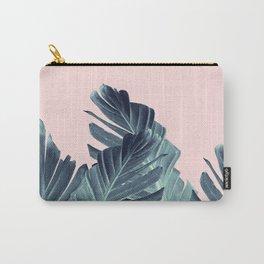 Blush Navy Blue Banana Leaves Dream #1 #tropical #decor #art #society6 Carry-All Pouch