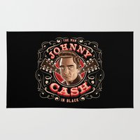 johnny cash Area & Throw Rugs featuring Johnny Cash Pinstripe by Roberlan Borges