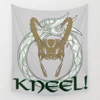 loki Wall Tapestries featuring Kneel Before Loki! by BlackRose Designs