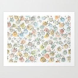 Vintage polka dot cups and flowers Art Print