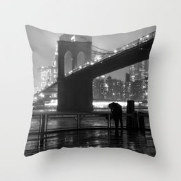Brooklyn Bridge on a rainy night Throw Pillow