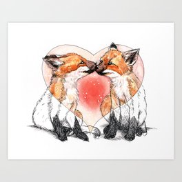 baby fox love Art Print