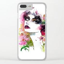 Echinacea fashion illustration Clear iPhone Case