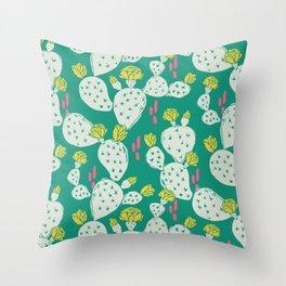 Yellow Flowering Cactus on Emerald Throw Pillow