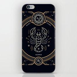 Scorpio Zodiac Golden White on Black Background iPhone Skin