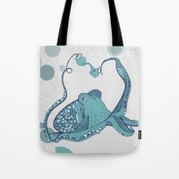 octopus Tote Bags featuring Octopus ! by Clare Corfield Carr