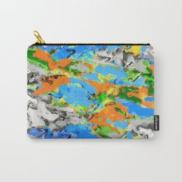 psychedelic splash painting abstract texture in blue green orange yellow black Carry-All Pouch