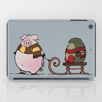 piglet iPad Cases featuring Pig and hedgehog by mangulica