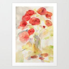 Corn poppy bouquet Art Print