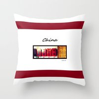 china Throw Pillows featuring China by Luciano Bove