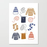 knitting Canvas Prints featuring Knitting by Holly Dunn Design